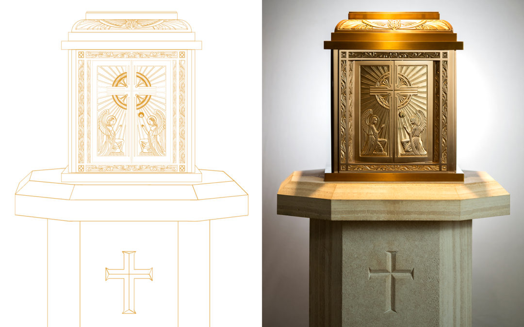 Catholic Tabernacle custom vector drawing for Diocese of Fort Worth © Rachel Marek 2019