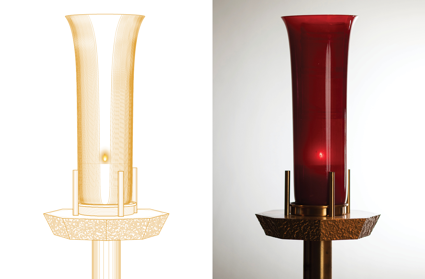 Catholic Tabernacle Candle - custom vector drawing for Diocese of Fort Worth © Rachel Marek 2019